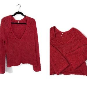 Free People Sand Dune  V-neck  Pullover Sweater